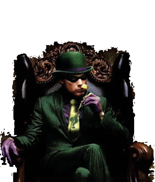 Mr Enigma in chair without text