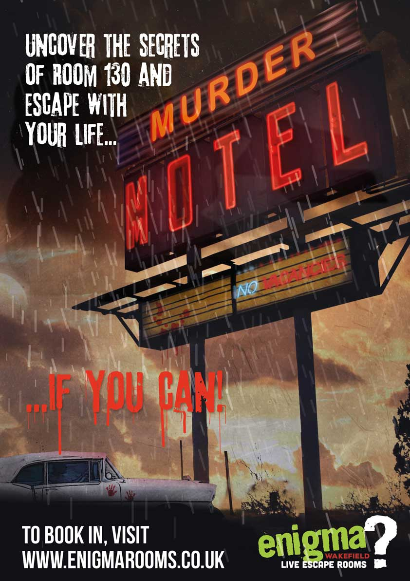 Movie poster of the murder motel escape room