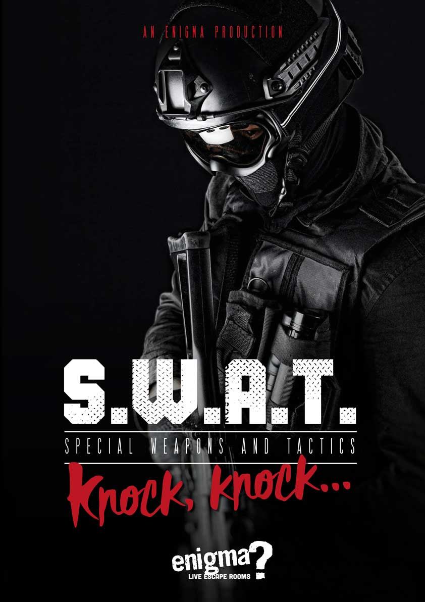 Movie poster for the S.W.A.T enigma room