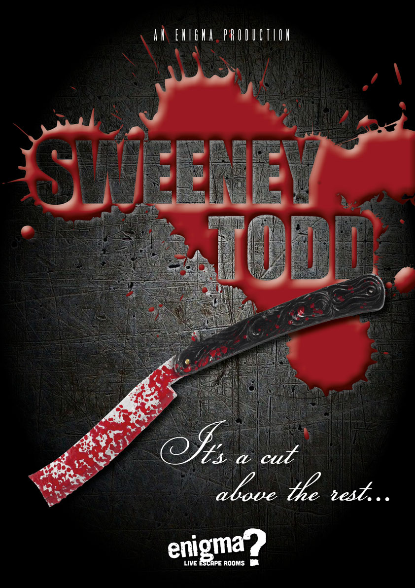 Movie poster for the Sweeney Todd enigma rooms
