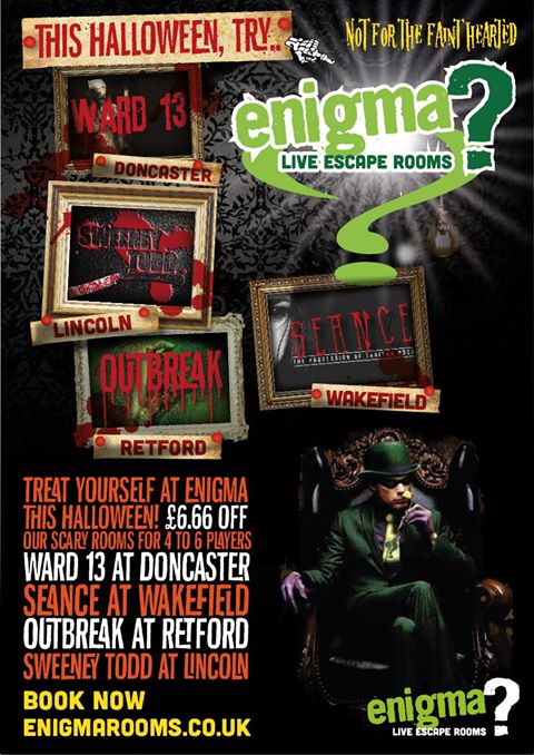 Treat yourself at Enigma Live Escape Rooms with this Halloween offer. £6.66 of our scary games for 4-6 players